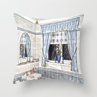 bathroom Throw Pillows featuring Bathroom Image by Valerie Paterson