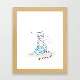 "Le White Tiger, ""I Like to Wear All of the Pants"" Framed Art Print"
