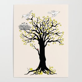 spring tree with birds Poster