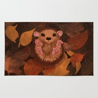 hedgehog Area & Throw Rugs featuring Hedgehog by Lilybet