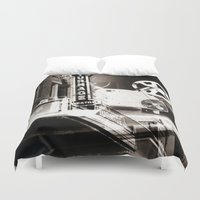 theater Duvet Covers featuring Turnage Theater by Justin Alan Casey