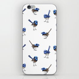 Blue Wrens, Scattered on White iPhone Skin