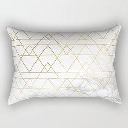 Gold Geometric Marble Deco Design Rectangular Pillow