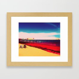 Bob and Hilda on a September beach Framed Art Print
