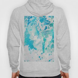 Hand painted aqua teal white watercolor splatters Hoody