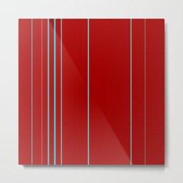 Modern Vertical Holiday Red Stripes Metal Print