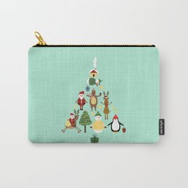 Christmas tree with reindeer, Santa Claus and bear Carry-All Pouch