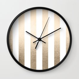 Simply Vertical Stripes in White Gold Sands Wall Clock