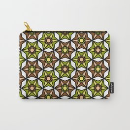Olive Green, Brown and White Geometric Retro Pattern Carry-All Pouch