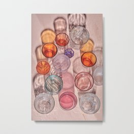 Colourful glasses on a handpainted table with long shadows Metal Print
