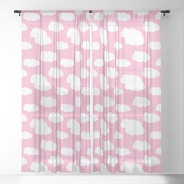 Clouds on Pink Baby Girl Nursery Sheer Curtain