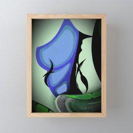 Feminine Form . Bright Vibrant Colours . Blue Green Digital Art Framed Mini Art Print