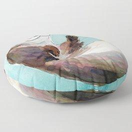 Swimming otter watercolor Floor Pillow