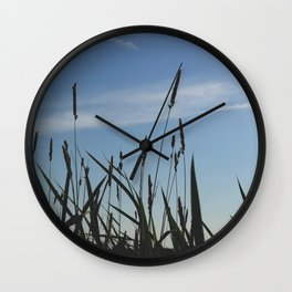 Green reeds large leaves Wall Clock