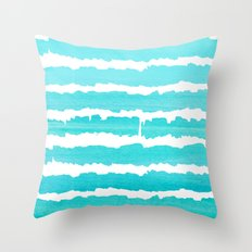 Maritime pattern- aqua handpainted stripes on clear white- horizontal Throw Pillow