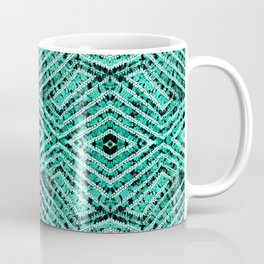 Aquamarine African Tie Dye Resist Fabric Adire Boho Chic Coffee Mug
