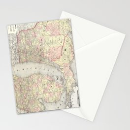 Vintage Map of Michigan & Wisconsin (1862) Stationery Cards