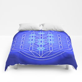 Flower Of Life - Blue Comforters
