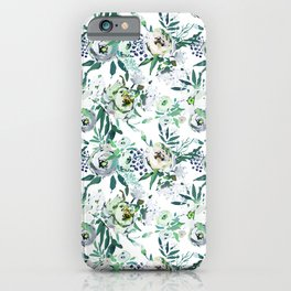 Country white green rustic watercolor floral iPhone Case