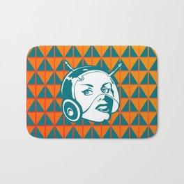 Faces: SciFi lady on a teal and orange pattern background Bath Mat