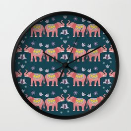 Pink Elephants Teal background Wall Clock