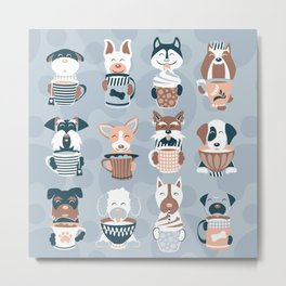 Doggie Coffee and Tea Time I // blue grey Metal Print