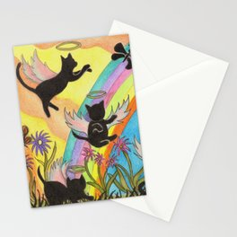 Angel cats crossing over to Rainbow Bridge Stationery Cards
