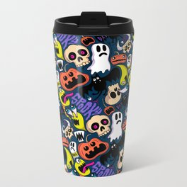 Spooky Pattern Metal Travel Mug