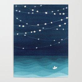Garlands of stars, watercolor teal ocean Poster