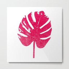 Monstera Leaf Silhouette Art Print Metal Print