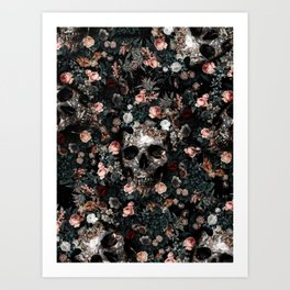 Skull and Floral pattern Art Print