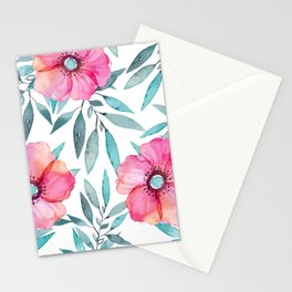 Pink Garden Flowers Stationery Cards