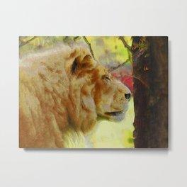 """The King"" Big Cat Lion Artwork Metal Print"