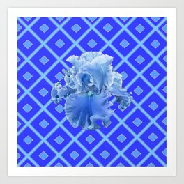 Baby Blue German Iris Blue Pattern Art Print
