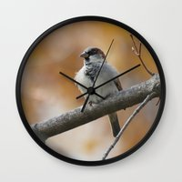 sparrow Wall Clocks featuring Sparrow by Tammi Hofstetter
