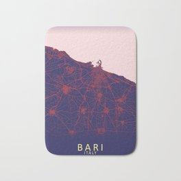 Bari, Italy, Blue, White, City, Map Bath Mat