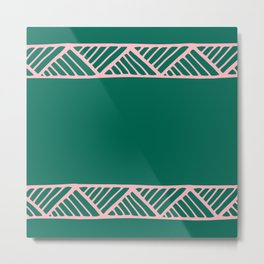 Boho Ethnic Pattern No 01 - Pink and Green Metal Print