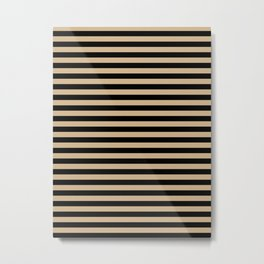 Tan Brown and Black Horizontal Stripes Metal Print