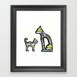 Cats yellow Framed Art Print