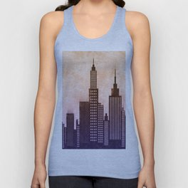 Modern City Buildings And Skyscrapers Sketch, New York Skyline, Wall Art Poster Decor, New York City Unisex Tank Top