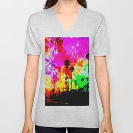 palm tree at the California beach with colorful painting abstract background Unisex V-Neck