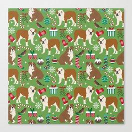 English Bulldog christmas pattern print pet friendly pet portrait dog art Canvas Print