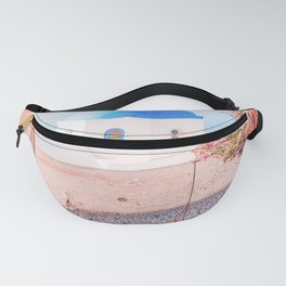 Santorini Greece Pink Old Street Travel photography Fanny Pack