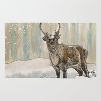reindeer Area & Throw Rugs featuring Reindeer by Meredith Mackworth-Praed