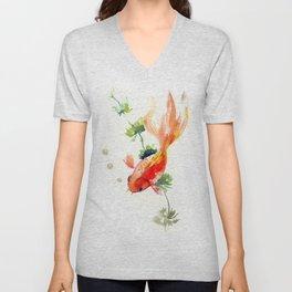 Goldfish, aquarium fish art, design watercolor fish painting Unisex V-Neck