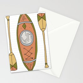 Canoe and oars Stationery Cards