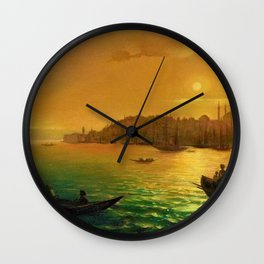 View of Constantinople by Moonlight by Ivan Aivazovsky Wall Clock
