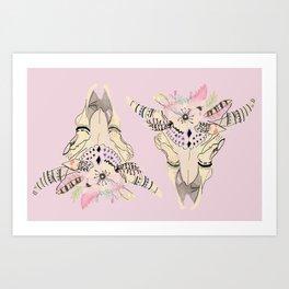 Boho chic skeleton pastel palette Art Print