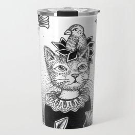 Cat Set 01 Ink Drawings - Cat and Bird Travel Mug