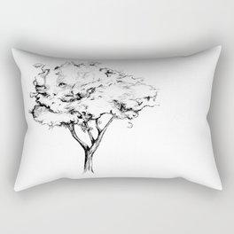 Black and White Tree Drawing Rectangular Pillow